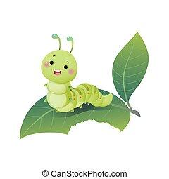 cute, verde, leaf., caricatura, vetorial, lagarta, ilustração, chewing