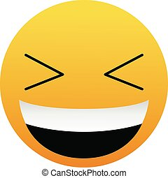 Cute Very Happy Laugh Emoticon on White Background. Isolated Vector Illustration