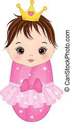 cute, vestido, vetorial, menina bebê, princesa