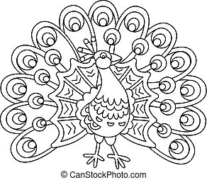 cute, vetorial, caricatura, pavão