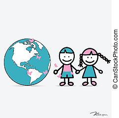 cute, vetorial, illustration., globe., crianças