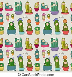 cute, vetorial, illustration., succulents, padrão, pots., cacti., cacto, caricatura