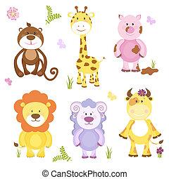 cute, vetorial, jogo, caricatura, animal