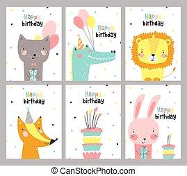 cute, vetorial, jogo, ilustração, animals., cartão aniversário