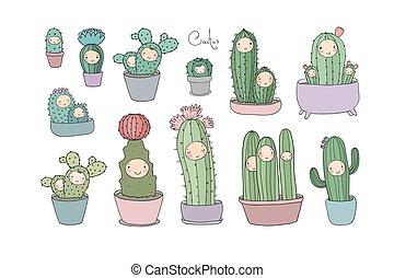 cute, vetorial, succulents, pots., cacto, caricatura