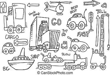 cute, vetorial, transporte, doodle