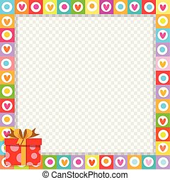 cute vibrant frame made of doodle hearts with bright red gift box in corner.