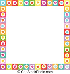 Cute vibrant square love frame made of doodle hearts on white background.