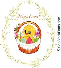 cute, vindima, grinalda, desenho, primavera, cesta, chick., cartão, páscoa