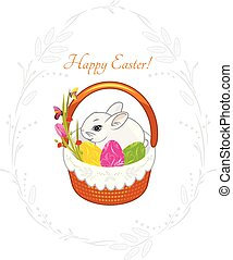 cute, vindima, grinalda, desenho, primavera, cesta, rabbit., páscoa, cartão