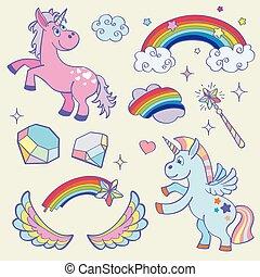 cute, vinger, sæt, trylleri, regnbue, stav, vektor, enhjørning, stjerner, krystaller, fairy