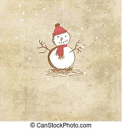 Cute vintage christmas card with snowman