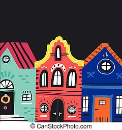 Cute vintage houses facades flat