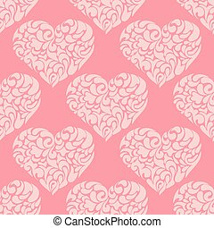 cute vintage pink heart vector pattern