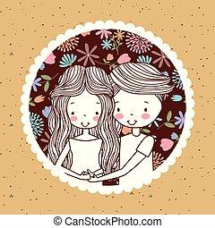 cute vintage portrait couple pregnancy with flowers decoration background