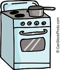 Cute vintage stove top cartoon vector illustration motif set.