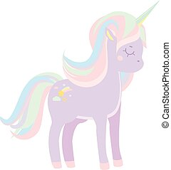 Cute violet unicorn with pastel mane. Vector illustration -...