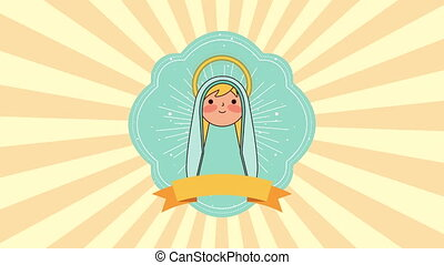 cute virgin mary manger character , 4k video animation