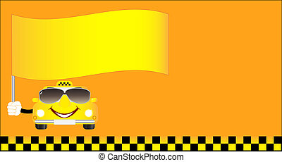 visiting card cheerful taxi with fl