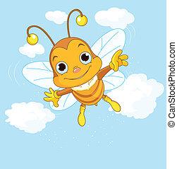 cute, voando, céu, abelha