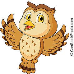 cute, voando, caricatura, coruja