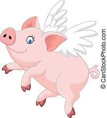 cute, voando, caricatura, porca
