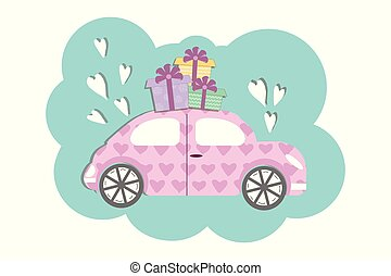 Cute volkswagen beetle style car with gift boxses- vector illustration in flat cartoon style