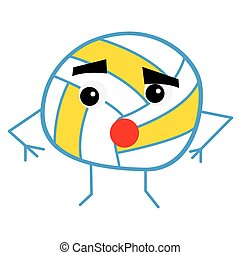 Cute Volleyball Ball Cartoon Character.