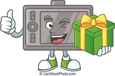 Cute wacom character holding a gift box