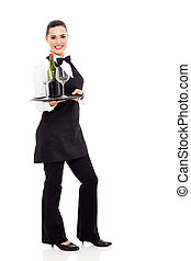 cute waitress holding wine and glass