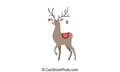 Cute walking deer animal decorated by hanging Christmas...