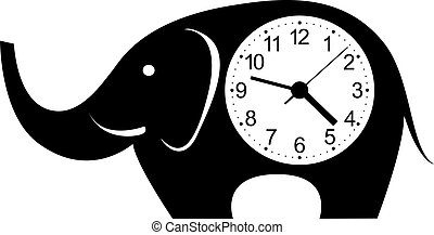 Cute wall clock elephant sticker. Colorful vector illustration