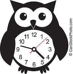 Cute wall clock owl sticker. Vector illustration - Cute wall...