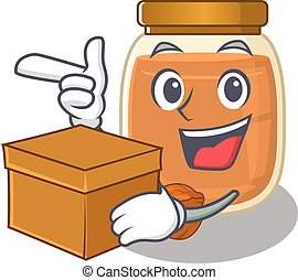Cute walnut butter cartoon character having a box