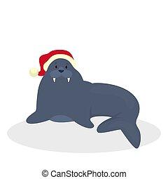 Cute walrus in Santa hat celebrate christmas