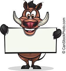 Cute Warthog holding sign