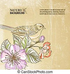 Cute watercolor bird.