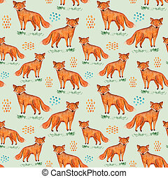 Cute watercolor fox and blobs on grass pattern