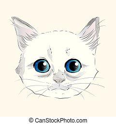 Cute Watercolor Kitty - Watercolor illustration of cute...