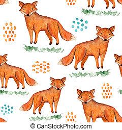 Cute watercolor orange fox on grass pattern