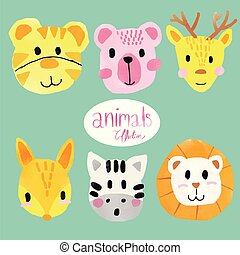 cute, watercolour, animal, caras