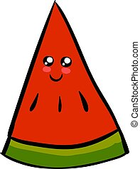 Cute watermelon slice, illustration, vector on white background.