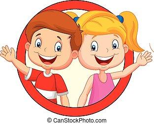 cute, waving, crianças, caricatura, mão