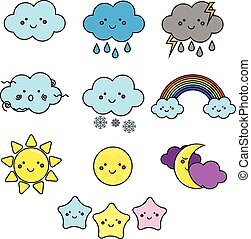 Cute weather and sky elements. Kawaii moon, sun, rain clouds vector illustration for kids, isolated design children