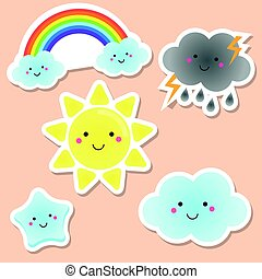 Cute weather and sky elements. Kawaii sun, rainbow, clouds. vector stickers for kids, isolated design elements. Children labels