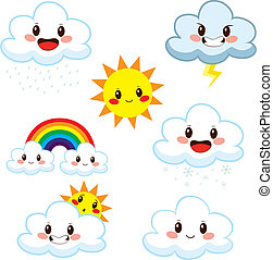 Cute Weather Elements Collection - Collection of cute...