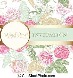 Cute wedding floral invitation