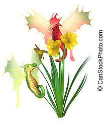 Cute Welsh Dragons and Daffodils for St David's Day