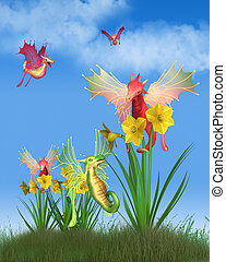 Cute Welsh Dragons and Daffodils on a Sunny St David's Day