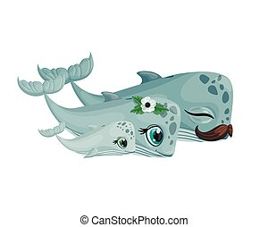 Cute whale family. Mom, dad and baby. Hand drawn Vector illustration. For children fashion and stationery, nursery, scrapbooking, home decor and textile, surface design. Ocean marine world. Part of a large sea creatures collection